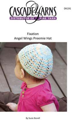 Angel Wings Preemie Hat in Cascade Fixation - DK191