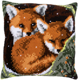 Vervaco Foxes Cushion Cross Stitch Kit - 40cm x 40cm