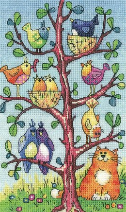 Heritage Crafts Bird Watching, 28 count Evenweave Cross Stitch Kit - Multi