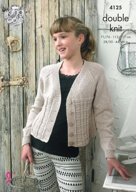 Cropped Raglan Cardigans in King Cole Authentic DK - 4125 - Downloadable PDF