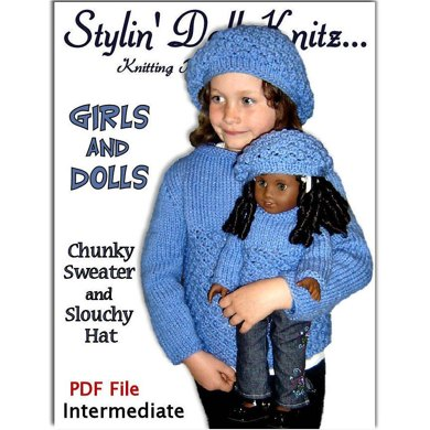 Girls and Dolls matching Sweater and Slouchy hat, 18 inch doll 543