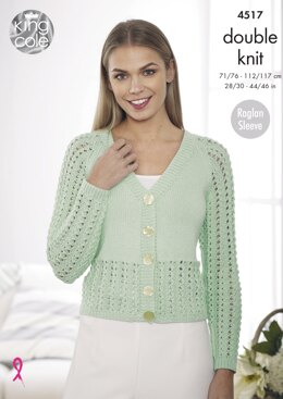 Cardigans With Lower Lace Panel & Lace Sleeves in King Cole Cottonsoft DK - 4517