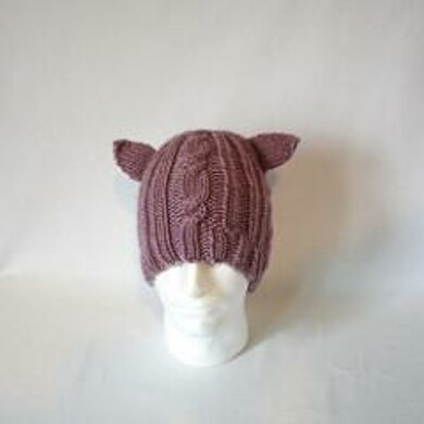Animal Ear Bulky Cable Hat