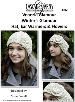 Hat, Ear Warmers & Flowers in Cascade Venezia Glamour - C269