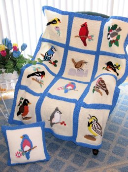 Knit Song Bird Afghan & Pillow