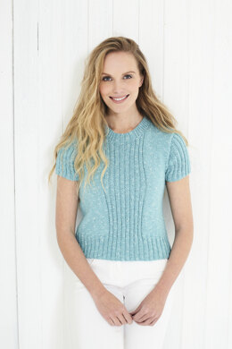 Ladies Cardigan Top with Short Sleeves and Top with Cap Sleeves in King Cole Cotton Top DK in King Cole - 5625 - Leaflet