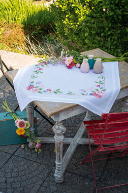 Vervaco Flowers & Butterflies Tablecloth Cross Stitch Kit