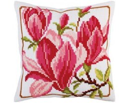 Collection D'Art Magnolia Flowers Cross Stitch Cushion Kit