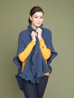 Seed Stitch Ruffled Wrap  in Lion Brand Wool-Ease - 60609