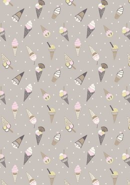 Lewis & Irene Picnic in the Park Ice Cream Grey Fabric Cut to Length