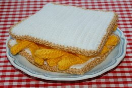 Crochet & Knitting Pattern for a Chip Butty / Sandwich - Knitted Food