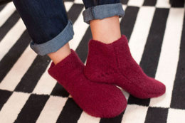 2 Needle Felted Slipper Booties in Plymouth Yarn Galway Chunky - F564 - Downloadable PDF
