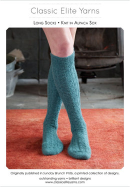 Long Socks in Classic Elite Yarns Alpaca Sox - Downloadable PDF