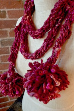 Pom Pom Scarf in Knit Collage Gypsy Garden