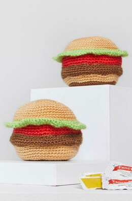 Tasty Crochet Hamburgers in Red Heart Amigurumi - LM6293 - Downloadable PDF