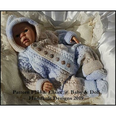 """Cabled All in One and Socks Set for 16-22"""" doll/preemie – 3m+ baby"""