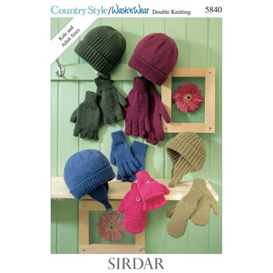 Hat and Gloves in Sirdar Country Style DK and Wash 'n' Wear Double Crepe DK - 5840 - Downloadable PDF