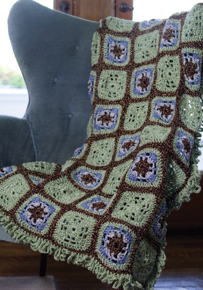 Crochet Little Windows Granny Throw In Red Heart Fiesta