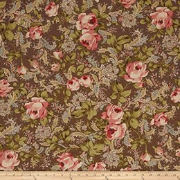 Moda Fabrics Roses and Chocolate II Floral Roses Paisley Brown