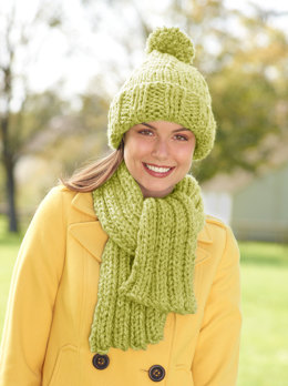 Hat And Scarf Set in Lion Brand Hometown USA - L10447B