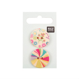 Rico Wooden Buttons, Colourful Print