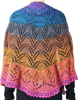 Butterfly in the Sunset Shawl