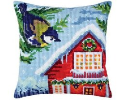 Collection D'Art Waiting for Christmas II Cross Stitch Cushion Kit - 40cm x 40cm