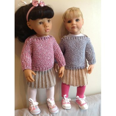 Easy Knit Jumper And Skirt 18 Quot Doll Knitting Pattern By