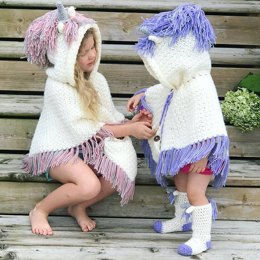 Hooded Unicorn Poncho & Socks