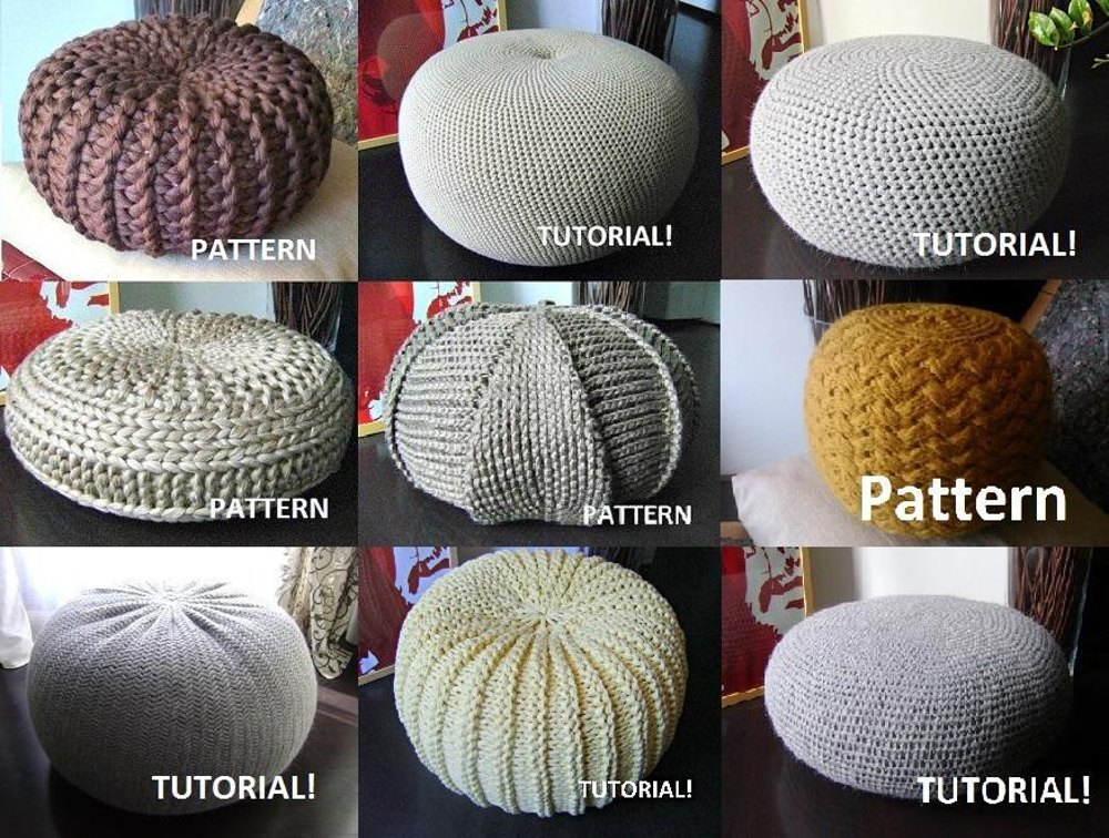 Knitted Ribbing Patterns : 9 Knitted & Crochet Pouf Floor cushion Patterns Crochet Pattern Knit Patt...
