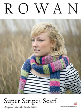 Super Stripes Scarf in Rowan Big Wool - D129 - Downloadable PDF