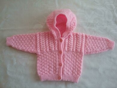 Diamond and cable baby hoodie