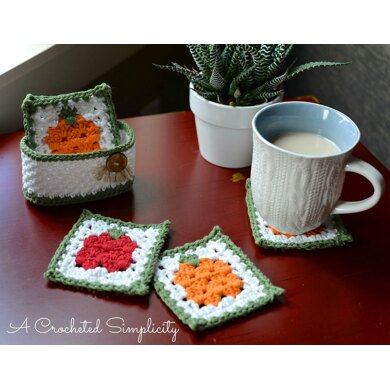 Fall Harvest Coaster & Basket Set
