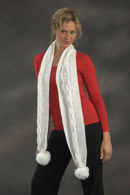 Cabled Scarf in Plymouth Yarn Holiday Lights - 2152