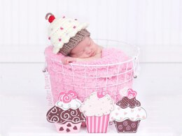 Cupcake Beanie With Cherry on Top PDF Crochet Pattern