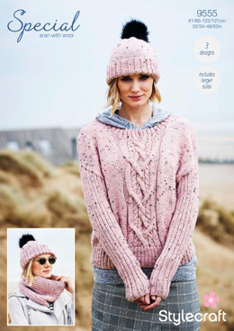 Sweater, Cowl & Hat in Stylecraft Special Aran with Wool - 9555 - Downloadable PDF