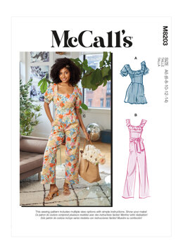 McCall's Misses' Romper, Jumpsuits & Sash M8203 - Sewing Pattern