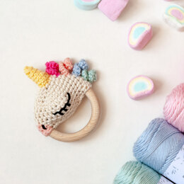 Unicorn Rattle Ellie in Hoooked Eucalyps - Downloadable PDF