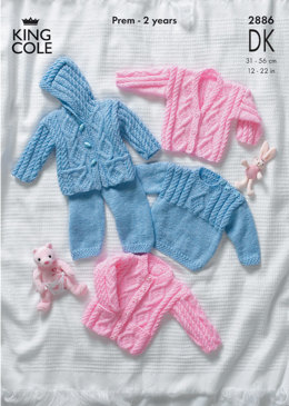 Sweater, Jacket, Trousers and Cardigan in King Cole Comfort Baby DK - 2886