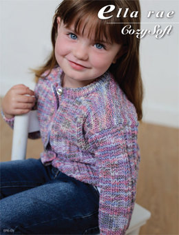 Garter Rib Cardigan in Ella Rae Cozy Soft Print - ER5-01 - Downloadable PDF