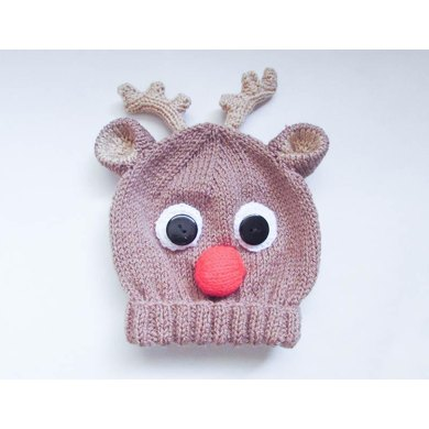 Rudolph Reindeer Animal Baby Beanie Hat Knitting Pattern By