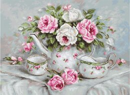 Luca-S English Tea & Roses Petit Point Tapestry Kit