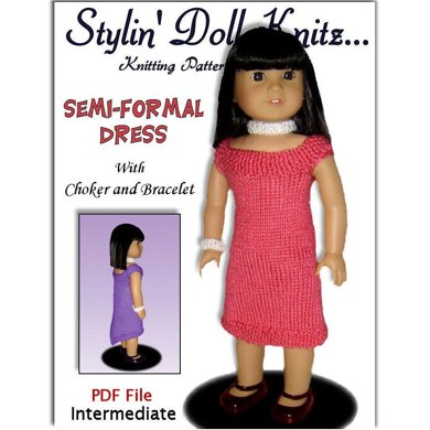 Fits American Girl. Knitting pattern, doll clothes, dress 035