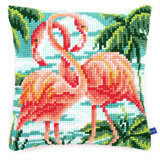Vervaco Flamingos Cushion Cross Stitch Kit - 40cm x 40cm