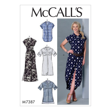 McCall's Misses' Button-Down Top, Tunic, Dresses and Belt M7387 - Sewing Pattern