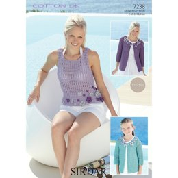 Cardigan and Vest in Sirdar Cotton DK - 7238