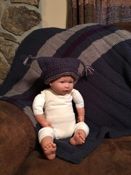Striped Baby Blanket and Tassels Hat