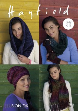 Scarf, Snood, Hat and Mittens in Hayfield Illusion DK - 7854
