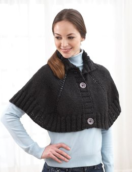 Top Down Button Front Capelet in Bernat Alpaca