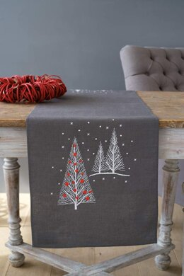 Vervaco Christmas Trees Table Runner Embroidery Kit